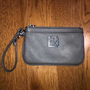 Calvin Kein Grey Leather Wristlet